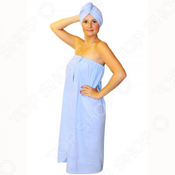 Набор для бани женский EVA Б26. В ассортиментеНаборы текстильные для бани<br>Товар продается в ассортименте. Возможные варианты цвета: зелёный, розовый, голубой, красный, желтый, оранжевый, белый, фиолетовый, синий. Цвет изделия при комплектации заказа зависит от наличия цветового ассортимента товара на складе. Набор для бани женский EVA Б26 - отличный подарок для любителей попариться в баньке или расслабиться в сауне. Комплект включает в себя все необходимое для комфортного и безопасного отдыха. Такой комплект убережет вас от перегрева и позволит в полной мере насладится отдыхом. В комплект входит накидка и чалма. Накидка посажена на резинку и надежно застегивается на липучку, поэтом вы можете не переживать, что она случайно соскользнет. Все элементы набора выполнены из натуральных и высококачественных материалов. Размер полотенца 140х80см.<br>