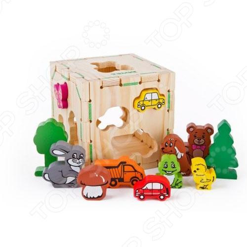 Сортер деревянный Томик «Веселые фигурки» пазл деревянный томик грибок 22272