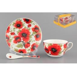 Купить Чашка чайная с блюдцем и ложкой Elan Gallery «Маки»