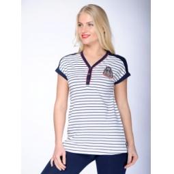 фото Футболка женская BeGood SS15-UKN-LTU-928. Цвет: белый, полоска. Размер одежды: 48
