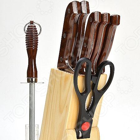 Набор ножей Mayer&amp;amp;Boch MB-509Ножи<br>Набор ножей Mayer Boch MB-509 станет отличным дополнением к комплекту аксессуаров и принадлежностей для кухни. Лезвия ножей выполнены из высокопрочного, не вступающей в реакции с продуктами питания, металла. Они имеют особую форму и специальный угол заточки, что обеспечивает удобство при нарезании и разделке продуктов. В набор входит точилка-мусат и деревянная подставка для ножей. Торговая марка Mayer Boch это синоним первоклассного качества и стильного современного дизайна. Компания занимается производством и продажей кухонных инструментов, аксессуаров, посуды и т.д. Функциональность, практичность и инновационные решения вот основные принципы торгового бренда Mayer Boch.<br>