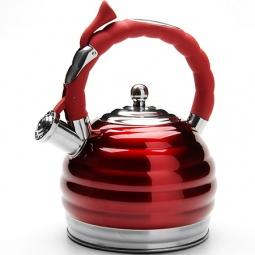 фото Чайник со свистком Mayer&Boch Convex Rings. Цвет: серебристый, красный