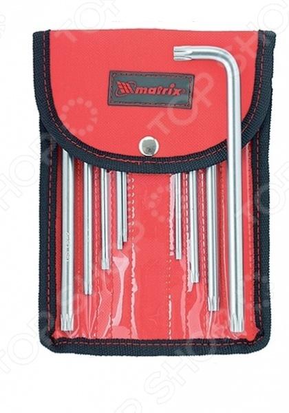 Набор ключей имбусовых MATRIX Tamper 12313Шестигранные (имбусовые) ключи. Звездочки<br>Набор ключей имбусовых MATRIX Tamper 12313 это набор слесарных инструментов, используемых для завинчивания и отвинчивания крепежных деталей с шлицем звездочкой, ключи крепятся в чехол с креплением на поясе. Ключи сделаны из высококачественной хромованадиевой стали, имеют практичную Г-образную форму, благодаря чему ключ удобно использовать даже в труднодоступных местах. Сам материал твердостью 50 HRC, покрытие сатинированное позволяет надежно удерживать ключ при высоком крутящем моменте. В состав набора входят ключи размером Т ТТ : 10, 15, 20, 25, 27, 30, 40, 45, 50.<br>