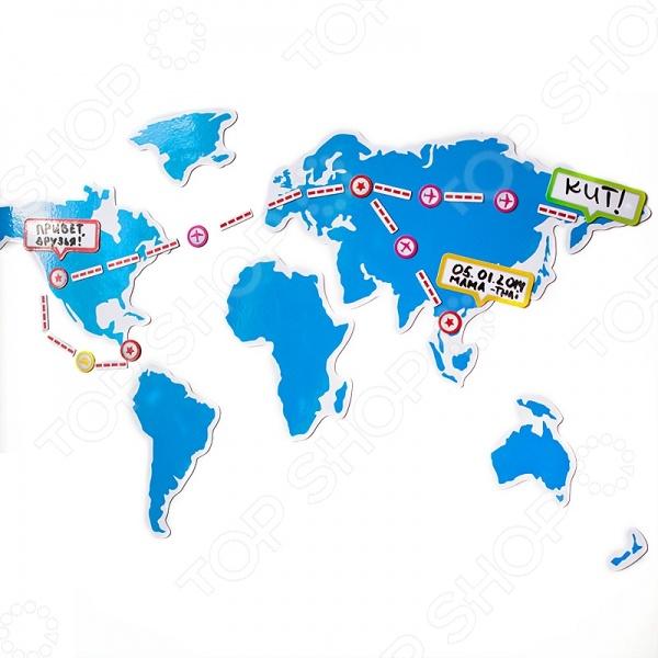 Карта магнитная BadLab My Trip станет чудесным подарком для страстных любителей путешествий и новых впечатлений. На свете нет ничего интереснее, чем открывать для себя новые страны и места, дарящие новые эмоции и ощущения. Предлагаемая карта же поможет сохранить все эти неповторимые впечатления и эмоции не только в вашей памяти. Отмечайте на ней страны, где вы уже побывали и прокладывайте маршруты новых захватывающих путешествий. Карта состоит из 7 элементов с материками, 4-х видов транспорта каждого по 4 значка , 6 блоков для заметок, 35 значков маршрута и 4 звездочек, которыми можно отмечать точки назначения. В набор также входит маркер, которым можно рисовать прямо на карте.
