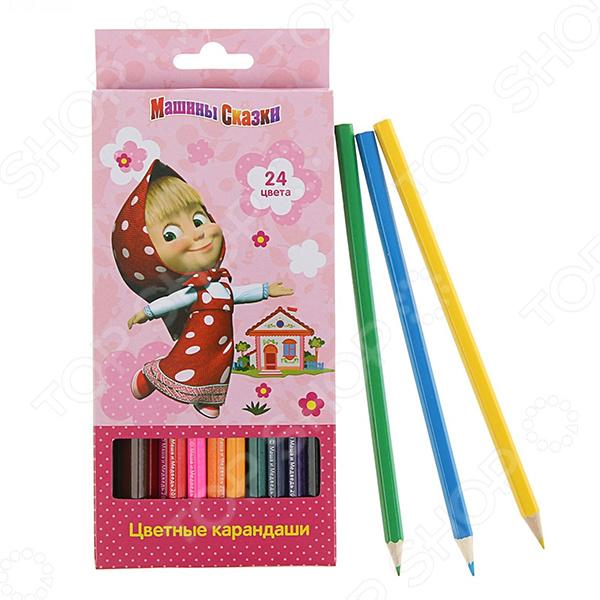 Набор цветных карандашей Маша и Медведь 24 цветаКарандаши<br>Набор цветных карандашей Маша и Медведь 24 цвета комплект, который отлично подойдет для рисования, письма и раскрашивания. Мягкие, но прочные карандаши порадуют маленького художника насыщенностью и яркостью цветов, поэтому для получения сочного оттенка совсем не нужно сильно нажимать на карандаш. Прочный грифель не крошится при падении и не ломается при заточке. Благодаря высококачественной древесине, карандаши легко затачиваются обычной подходящей по размеру точилкой.<br>