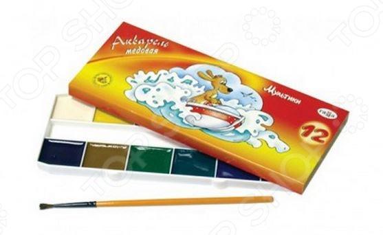 Не секрет, что рисование является для детей одним из самых любимых и увлекательных занятий. Оно, в полной мере, раскрывает творческий потенциал и способствует развитию у малышей фантазии и воображения. Помимо этого, рисуя или разукрашивая, ребенок учится правильно сочетать цвета, запоминает их названия и основные оттенки. Акварель медовая с кистью Гамма Мультики станет отличным приобретением для юного художника. Палетка красок состоит из 12-ти, наиболее часто используемых цветов. Акварель является водорастворимой краской и содержит в своем составе органические пигменты. В качестве связующего вещества используется натуральный пчелиный мед. Среди основных преимуществ медовой акварели можно отметить яркий насыщенный цвет красок и устойчивость к выгоранию под действием прямых солнечных лучей. Товар прошел строгую сертификацию и соответствует всем нормам безопасности, применяемым к данному типу продукции.