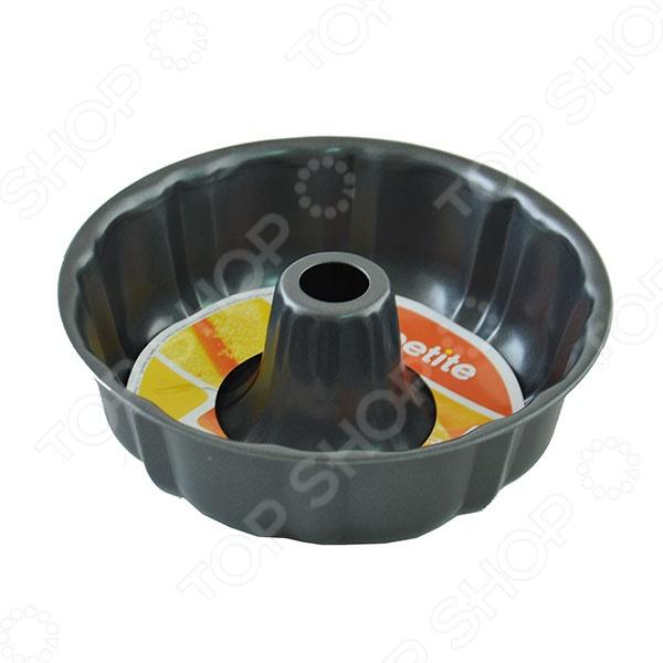 Форма для выпечки круглая AppetiteМеталлические формы для выпечки и запекания<br>Форма для выпечки круглая Appetite с антипригарным покрытием станет надежным и незаменимым помощником на вашей кухне. Стальная форма выполнена из углеродистой стали толщиной 0,4 мм, которая отличается устойчивостью и прочностью к деформации, поэтому форма будет очень удобной и легкой в использовании. Высокие фигурные бортики позволяют выпекать даже самые пышные и нежные десерты. Эта практичная форма займет достойное место среди вашей кухонной утвари, так как не изменяет цвет, вкус выпекаемых блюд, легко моется и не требует особенного ухода. Благодаря антипригарному покрытию вам не потребуется большое количество масла, поэтому ваша выпечка будет не только вкусной, но и полезной. Изделие легко выдерживает температуру до 250 С и подходит для приготовления в газовых и электрических духовках.<br>
