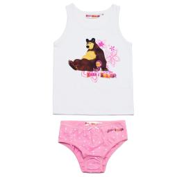 Купить Комплект нижнего белья для девочки: майка и трусы «Маша и Медведь. Посиделки»