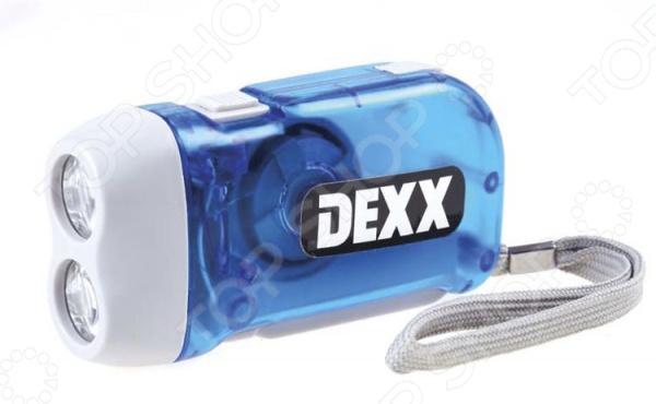 Динамо-фонарь DEXX 56700Туристические фонари<br>Динамо-фонарь DEXX 56700 предмет для освещения пути, используется во время походов в темное время дня и слабо освещенных местах. Для работы фонарика вам не потребуются батарейки или сеть переменного тока. Достаточно нажимать рычаг на боковой стороне корпуса. В качестве лампы используется два мощных светодиода. Для удобства переноски предусмотрен шнурок на руку. Корпус сделан из износостойкого пластика.<br>
