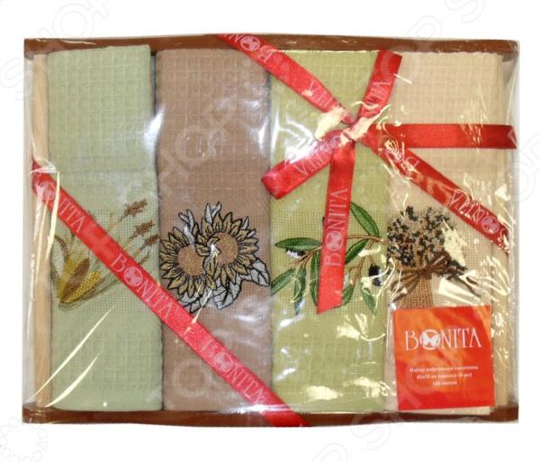 Комплект из 4-х вафельных полотенец подарочный Bonita глянцевый кухонный стол из массива дерева дик kenner 1100m