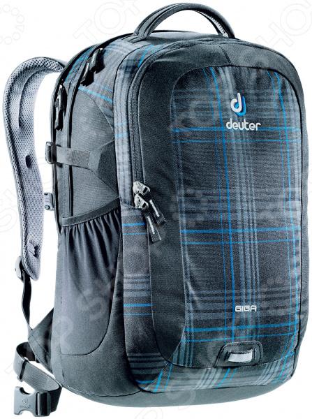 Рюкзак городской Deuter Daypacks Giga 31 blueline checkРюкзаки<br>Рюкзак городской Deuter Daypacks Giga 31 blueline check классический городской рюкзак, который идеально подойдет, как для школьников, так и для студентов и простых офисных работников. Основное отделение оснащено специальным отсеком для ноутбука с диагональю 15 . Благодаря просторному основному отсеку размером со стандартную папку, вы получаете отличное место для хранения книг, блокнотов, документов. Передний карман идеально подходит для органайзера, где все ручки, основные документы и телефон находятся в пределах досягаемости. Мягкая основа рюкзака выполнена из высококачественного полиэстерового материала, который придает изделию дополнительную прочность и практичность. Другие особенности данной модели городского рюкзака:  анатомическая спинка с инновационной системой Airstripes обеспечивает эффективную вентиляцию и надежное прилегание к спине;  мягкие лямки позволяют равномерно распределить нагрузку на спину;  для более надежной фиксации предусмотрены нагрудное и набедренное крепление, которые можно самостоятельно регулировать;  поясной ремень можно при желании снять;  выполнен из прочного и высококачественного материала, который отличается своей прекрасной устойчивостью к истиранию и воздействию атмосферных изменений;  небольшая мягкая ручка;  прочная молния;  ключевой зажим;  светоотражающий элемент в передней части. Изделие отличается не только своими прекрасными характеристиками, но и оригинальным современным дизайном.<br>