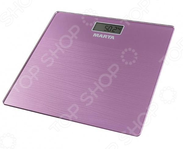 Весы Marta MT-1677Весы<br>Весы Marta MT-1677 электронные весы для каждого дома, предназначенные для точного взвешивания массы тела. Оснащены сенсорной технологией управления, также снабжены жидкокристаллическим дисплеем для быстрого считывания информации. Достаточно компактны, поэтому вопросов с хранением не возникнет, а также просты в использовании, с ними справится даже ребенок. Особенности:  Голосовая функция;  Индикатор перегрузки;  Индикатор замены батареи.<br>