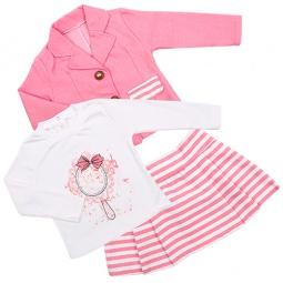 Купить Комплект для девочки: юбка, пиджак и толстовка Estella ЯВ109822. Цвет: коралловый
