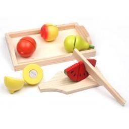 фото Набор деревянных игрушек ЗАТЕЙНИКИ «Фрукты на липучках с разделочной доской»