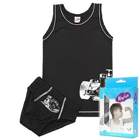 Купить Комплект нижнего белья: майка и трусы Kapriza Silver Car ЯВ103332. Цвет: черный, белый