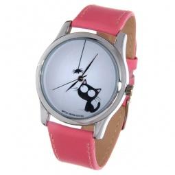 фото Часы наручные Mitya Veselkov «Кошка и паучок» Color. Цвет: розовый