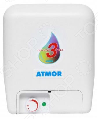 Водонагреватель Atmor O/S/E 10 LTВодонагреватели<br>Водонагреватель Atmor O S E 10 LT это электрический прибор, который разогревает и подает горячую воду в жилое или офисное помещение. Имеет компактный плоский корпус без острых углов, поэтому может быть установлен над мойкой. Преимущества:  Легко устанавливается.  Благодаря своей форме не занимает много места.  Терморегулятор защищен от влаги.  ТЭН с тепловой и токовой защитой.  Есть предохранительный клапан. Корпус бойлера сделан из прочного термостойкого пластика, внутренний бак из стеклокерамики. Водопроводные трубы можно подключить в нижней части. Нагревательный элемент имеет увеличенный размер, нагревается от 20 С до 55 С около 30 минут. А для контроля работы прибора на панели есть индикатор включения. Объем емкости для воды составляет 10 литров, может снабжать одну водоразборную точку, будь то ванная или кухня. Управляется механически, поэтому для удобной настройки и контроля напора предусмотрен плавный регулятор нагрева ТЭНа.<br>