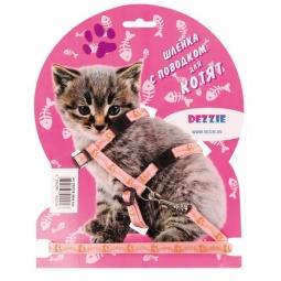 фото Набор для котят: шлейка и поводок DEZZIE «Китти». Цвет: розовый