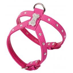 фото Шлейка для собак DEZZIE «Косточка и стразы». Цвет: розовый. Размер: L. Размер в груди: 34-40 см. Размер в шее: 22-28 см