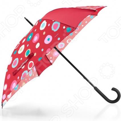 Зонт-трость Reisenthel Umbrella funky dots - оригинальный зонт ярких и приятных цветов, с которым ни снег ни дождь не страшны. Благодаря своей инновационной форме, с восьми углами, он надежен и способен выдержать даже штормовой ветер. Имеет гибкие спицы, со специальными пружинами, которые не позволяют им ломаться, даже если зонт вывернуть наизнанку. Имеет красивый, удобный острый наконечник и ручку, которая позволяет повесить зонт. Рекомендуется просушивать в открытом состоянии, не складывая его пока он мокрый.
