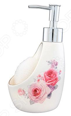 Диспенсер для жидкого мыла с губкой Elan Gallery «Розы»Диспенсеры для мыла<br>Диспенсер для жидкого мыла с губкой Elan Gallery Розы изящный резервуар для повседневного использования в хозяйстве. Имеет удобный выступающий кран и кнопку, при нажатии на которую извлекается жидкое мыло. Имея этот деспенсер можно экономно расходовать мыло. Сделан из прочной керамики и имеет универсальный дизайн, который будет хорошо смотреться с любым интерьером. Внешняя сторона украшена декоративным рисунком. Подойдет как для домашней ванной комнаты, так и для общественных мест. В диспенсере есть губка.<br>