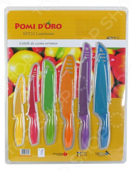 Набор ножей POMIDORO SET22Ножи<br>Набор ножей POMIDORO SET22 с лезвиями из высококачественной нержавеющей стали станет незаменимым на вашей кухне. Идеально подойдет для шинковки, чистки, нарезки овощей и фруктов, а также перерубания мелких костей. Лезвия ножей долго сохраняют заточку, а цельнокованная конструкция клинков гарантирует долговечность изделий. Эргономичная рукоять каждого изделия выполнена из прорезиненного пластика. Рельефная поверхность рукояти обеспечит надежный захват и не даст ножу скользить в руке при использовании. В упаковке поставляется 6 ножей различного назначения и защитные кожухи для каждого из них. С набором ножей POMIDORO SET22, вы почувствуете себя профессиональным шеф-поваром.<br>