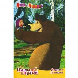 фото Набор картона цветного Росмэн «Маша и Медведь» 2: 8 цветов