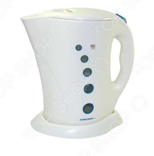 Чайник Sterlingg 10000Чайники электрические<br>Чайник Sterlingg 10000 - простая и практичная модель, незаменима на любой кухне. Чайник мощностью 2200 Вт и объемом 1.7 л, в считанные минуты вскипятит воду. Модель выполнена из жаропрочного пластика, который при нагревании не выделяет вредных веществ. Нагревательным элементом служит открытая спираль. При закипании чайник автоматически выключается. На наружной поверхности нанесена шкала, которая позволяет определить минимальный и максимальный уровень воды. Модель отлично подойдет как для домашней кухни, так и для использования в офисе.<br>