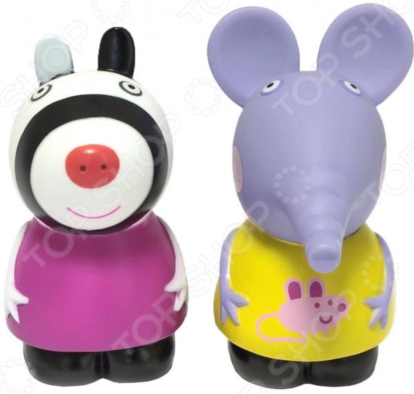 Игровой набор фигурок Peppa Pig «Эмили и Зои»Игровые наборы с персонажами мультфильмов, сказок и комиксов<br>Игровой набор фигурок Peppa Pig Эмили и Зои комплект, включающий в себя две фигурки из пластизоли. Забавные персонажи из любимого всеми детьми мультфильма Свинка Пеппа порадуют своими добрыми мордашками и яркой расцветкой. Вместе с такими фигурками можно весело принимать водные процедуры. Фигурки станут отличным дополнением любой сюжетной игры, помогут ребенку развить фантазию и воображение, выработать внимательность, усидчивость и аккуратность. Яркая цветовая гамма поможет малышу улучшить цветовосприятие, а приятный на ощупь материал будет способствовать развитию тактильных ощущений и мелкой моторики пальчиков. Высота фигурки 10 см.<br>