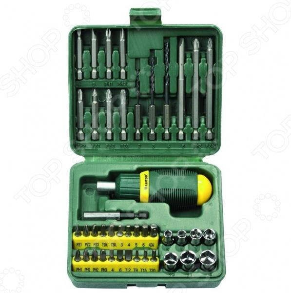 Отвертка реверсивная с битами и торцевыми головками Kraftool 25556-H43 отвертка реверсивная с битами kraftool 25550 h10