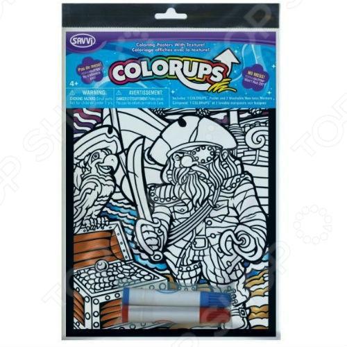 Раскраска с фломастерами Savvi «Пират»Раскраски<br>Раскраска с фломастерами Savvi Пират позволит развить ребенку творческие наклонности, а также повысить концентрацию и усидчивость, ведь он будет стараться правильно наносить цвета и не вылезать за рамки, чтобы не испортить картинку. Наборы ColorUps подойдут как для девочек, так и для мальчиков, ведь они посвящены одним из самых интересных тем для детей: космические корабли и пришельцы, феи и принцессы, дикие животные, бабочки, совы, мега машины каждый ребенок сможет найти для себя интересную тему. В комплекте:  Раскраска;  2 маркера.<br>