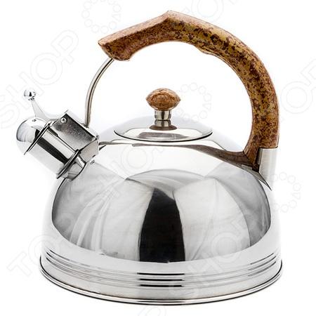 Чайник со свистком Mayer&amp;amp;Boch MB-20436Чайники со свистком и без свистка<br>Чайник со свистком Mayer Boch MB-20436 изделие привлекательного дизайна, которое будет не просто полезным аксессуаром на кухне, но и ее украшением. Большой объем чайника позволяет закипятить в нем достаточно воды для чаепития всей семьей. Свисток своевременно оповестит вас о закипании воды, так что вы можете не волноваться, что она случайно выкипит. Прекрасное распределение тепла обеспечивает специальное капсулированное дно с алюминиевой прослойкой.<br>