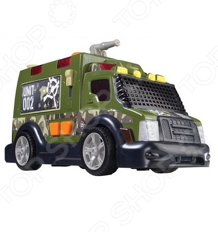 Модель военного автомобиля Dickie 3308364Машинки<br>Модель 3308364 представляет собой реалистичную копию военного автомобиля. Машина выпущена известной компанией по производству игрушек Dickie. Она изготовлена из пластика и обладает потрясающей детализацией. Боевой фургон оснащен водным оружием, которое активируется при помощи механической помпы резервуар для воды находится в кузове . Кроме того, имеются световые и звуковые эффекты, что сделает игровой процесс еще более захватывающим. Яркий автомобиль разнообразит игровые ситуации, откроет новые сюжеты для маленького автолюбителя и поможет развить мелкую моторику рук, внимание, воображение и координацию движений. Не упустите шанс порадовать ребенка замечательным подарком!<br>