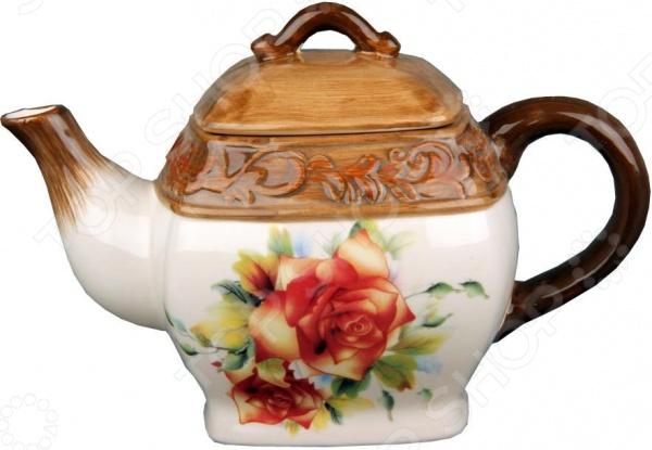 Чайник фарфоровый Коралл «Розы»