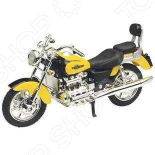 Модель мотоцикла Motormax Honda ValkyrieМодели авто<br>Модель мотоцикла Motormax Honda Valkyrie это точная уменьшенная копия настоящего мотоцикла Honda Valkyrie. Все детали в точности повторяют контуры реального мотоцикла. Главная особенность этой модели в качестве ее исполнения. Все детали выполнены из прочного пластика и металла. Эта модель по детализации максимально приближена к оригиналу. У мотоцикла есть несколько хромированных деталей и резиновые покрышки. Такой мотоцикл станет хорошим дополнением любой коллекции.<br>