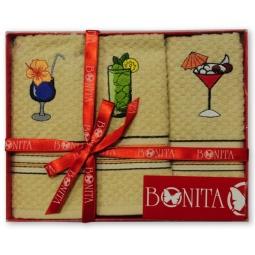 фото Комплект из 3-х махровых полотенец подарочный BONITA «Коктейли»