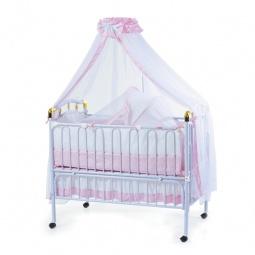 фото Кроватка детская Geoby с подвесной люлькой. Цвет: розовый