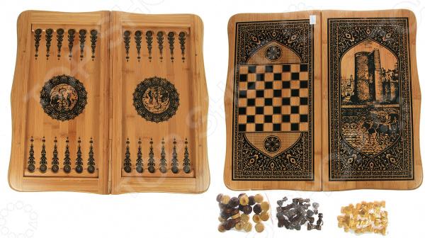 Игра настольная 2 в 1: нарды и шахматы 24521Нарды<br>Игра настольная 2 в 1: нарды и шахматы 24521 станет идеальным решением для проведения своего свободного времени с пользой для ума и логики. Особенность данной настольной игры в том, что она может использовать в качестве игрового поля для нард и шахмат. Для этого достаточно просто перевернуть игровое поле и выбрать нужный вариант. Данный набор станет прекрасным решением бесконечного вопроса, что же подарить мужчине, папе, начальнику или хорошему другу. Нарды древняя восточная игра, которая раньше имела тайный символический характер. Сейчас в нарды играют и дети, и взрослые. С её помощью вы без труда натренируете свою логику, внимательность, стратегическое мышление и дальновидность. Шахматы ничем не уступают нардам в азарте и пользе. С ней вы сможете расширить кругозор, научитесь быстро принимать решения и предугадывать следующие шаги вашего противника. Игровое поле выполнено из бамбука натурального и экологически чистого материала, который прост в использовании и уходе. Его достаточно регулярно протирать сухой и мягкой тканью, чтобы удалить лишнюю пыль. Размер игровой доски составляет 47х24 см. В комплекте есть набор шашек для игры в нарды и небольшие шахматные фигуры.<br>