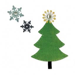 фото Форма для вырубки Sizzix Sizzlits Die и Bigz Die Новогодняя ёлка и снежинки
