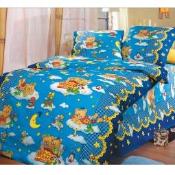 фото Ясельный комплект постельного белья Бамбино «Сладкий сон». Цвет: синий