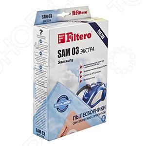 Мешки для пыли Filtero SAM-03 ЭкстраАксессуары для пылесосов<br>Мешки для пыли Filtero SAM-03 Экстра комплект пылесборников из синтетического микроволокна, которые отличаются большой вместимостью и повышенной износостойкостью. Мешки задерживают большое кол-во пыли благодаря двойному слою. Двойная система фильтрации происходит следующим образом: вначале происходит мягкая система фильтрации, после чего поглощаются мельчайшие частицы пыли. Подходит к любому пылесосам Samsung, Akira, EVGO, Hyundai, Rolsen, Shivaki.<br>