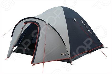Палатка High Peak Nevada 4 10205Палатки<br>Палатка High Peak Nevada 4 10205 комфортабельная палатка, рассчитанная на четверых человек. Независимо от того, собрались вы за город на выходные или же решили отправиться в поход, необходимо временное уютное жилище, которое укроет от непогоды и создаст все необходимые условия для проживания. Данная модель палатки отличается надежностью и легкостью установки, она отлично подойдет и для рыбалки, и для охоты, и для простого отдыха. Конструкция палатки представлена прочным каркасом из стеклопластика, который обеспечивает устойчивость конструкции даже при сильном ветре. Дополнительную страховку осуществляют пять штормовых оттяжек. Герметично проклеенные швы и специальная водостойкая пропитка тента обеспечивают комфортные условия проживания в любую погоду. В верхней части тента расположено вентиляционное отверстие, обеспечивающее циркуляцию воздуха. В сложенном виде палатка занимает совсем немного места, поэтому с ее транспортировкой у вас точно не возникнет проблем. В хорошую погоду вы можете установить только внутреннюю палатку. Если же в походе вас застанет дождь или сильный ветер, поможет дополнительный внешний тент. В любом случае, весь процесс установки палатки займет всего 4-5 минут. Внутри палатки вы также найдете вместительные карманы для различных мелочей.<br>