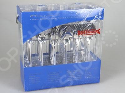 Набор кухонных принадлежностей Rosenberg 6923Столовые приборы<br>Набор кухонных принадлежностей Rosenberg 6923 состоит из 24 предметов, выполненных из прочной нержавеющей стали 18 10, поэтому прекрасно подойдет для сервировки столов как по особым праздникам, так и для повседневного использования. Удобная для держания ручка и элегантные формы приборов сделают их желанным украшением любого стола. Кроме того, для повышения комфорта использования, в набор входит специальная подставка для вертикального хранения столовых приборов.<br>
