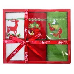 фото Комплект из 3-х вафельных полотенец подарочный BONITA «Олень, колокольчик, фонарь»