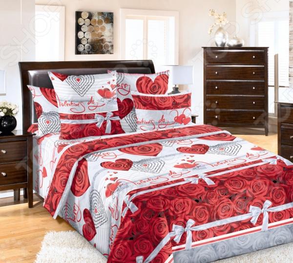 Комплект постельного белья Королевское Искушение «Комплимент». 1,5-спальный1,5-спальные<br>Комплект постельного белья Королевское Искушение Комплимент 1710234 это незаменимый элемент вашей спальни. Человек треть своей жизни проводит в постели, и от ощущений, которые вы испытываете при прикосновении к простыням или наволочкам, многое зависит. Чтобы сон всегда был комфортным, а пробуждение приятным, мы предлагаем вам этот комплект постельного белья. Приятный цвет и высокое качество комплекта гарантирует, что атмосфера вашей спальни наполнится теплотой и уютом, а вы испытаете множество сладких мгновений спокойного сна. В качестве сырья для изготовления этого изделия использованы нити хлопка. Натуральное хлопковое волокно известно своей прочностью и легкостью в уходе. Волокна хлопка состоят из целлюлозы, которая отлично впитывает влагу. Хлопок дышит и согревает лучше, чем шелк и лен. Поэтому одежда из хлопка гарантирует владельцу непревзойденный комфорт, а постельное белье приятно на ощупь и способствует здоровому сну. Не забудем, что хлопок несъедобен для моли и не деформируется при стирке. За эти прекрасные качества он пользуется заслуженной популярностью у покупателей всего мира. Перкаль это тонкая хлопковая ткань высочайшего качества. Особый способ переплетения из нескрученной хлопковой пряжи придает перкалю достаточно прочности, чтобы не пропускать перья и пух, и в то же время оставаться исключительно нежным и мягким на ощупь. Благодаря уникальным потребительским свойствам, белье не теряет цвет и не садится во время стирки, а на ткани не образуются катышки . Великолепный по своим практическим и эстетическим качествам материал нередко ставится в один ряд с натуральным шелком и высококачественным сатином.<br>