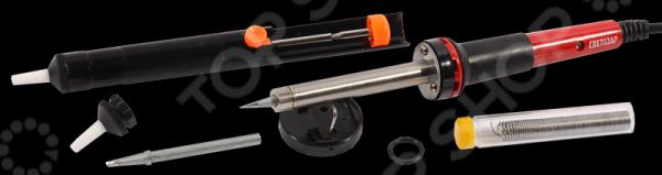 Набор для паяльных работ Светозар SV-55313-60-H6 предназначен для пайки электронных элементов с использованием припоя, имеющего более низкую температуру плавления, чем соединяемые детали. В комплект входит паяльник, припой, сменное жало, подставка, насадка на жало и шприц для удаления расплавленного припоя. Паяльник прост и удобен в использовании, снабжен высококачественным нагревательным элементом и эргономичный двухкомпонентной ручкой.