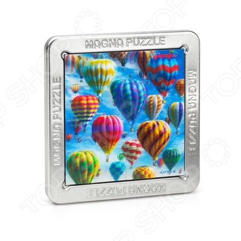 Пазл 3D Magna «Воздушные шары»Пазлы 3D<br>Пазл 3D Magna Воздушные шары трехмерный пазл с магнитными элементами, собрав которые можно получить картину. Детали плотно стыкуются вместе, поэтому её можно собрать не используя клей. Пазл удобно собирается на крышке коробки, для сборки есть специальная выемка. Полученная модель станет достойным украшением вашей комнаты. Если вы испытываете трудности при сборке, то в комплекте предоставляется наглядная инструкция. Сборка конструктора способствует развитию зрительной координации, воображения, тренируется наблюдательность, образное восприятие и логическое мышление. Преимущества:  Высокая сложность сборки.  Интересный процесс.  Качественные детали. Размер готовой картины 14,5х14,5х1,5 см.<br>
