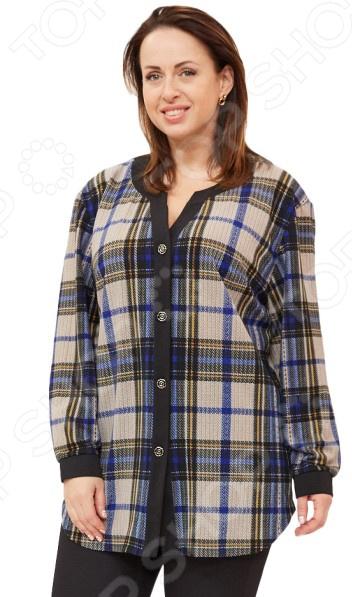 Рубашка Wisell «Ангелина»Блузы. Рубашки<br>Рубашка Wisell Ангелина это легкая рубашка длиной до середины бедра, которая поможет вам создавать невероятные образы, всегда оставаясь женственной и утонченной. Благодаря отличному дизайну она скроет недостатки фигуры и подчеркнет достоинства. Блуза прекрасно смотрится с брюками и юбками, а насыщенный цвет привлекает взгляд. В этой блузе вы будете чувствовать себя блистательно как на работе, так и на вечерней прогулке по городу. Можно отметить следующие особенности:  Длина блузки до середины бедра.  Фигурный вырез изделия обработан контрастной обтачкой, переходящей в планку с застежкой на пуговицы.  Втачные рукава обработаны контрастными манжетами с застежкой на пуговицу.  В боковых швах по низу изделия разрезы.  На фото представлена с брюками Миледи . Блуза изготовлена из мягкой ткани шерсть 16 , акрил 48 , вискоза 31 , эластан 5 , благодаря чему материал очень приятен к телу. Швы обработаны синтетическими нитями, эластичными нитями, благодаря чему швы тянутся и не натирают.<br>