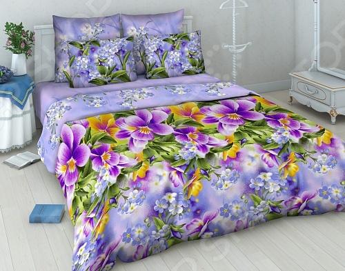 Комплект постельного белья Василиса «Фиалки» постельное белье василиса комплект постельного белья из сатин�� 1 5 спальный
