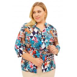Блуза СВМ-ПРИНТ «Сады Рая». Цвет: бирюзовый